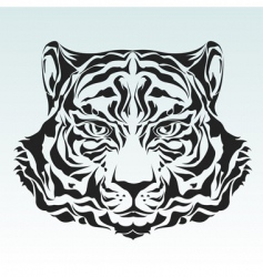 tiger head isolated black silhouette vector image