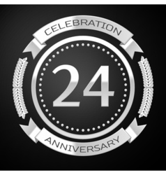 Twenty four years anniversary celebration with vector image