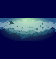 underwater reef wildlife on blue sea background vector image