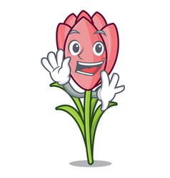 waving crocus flower character cartoon vector image