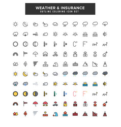 weather amp insurance icon set vector image