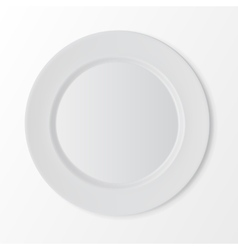White Flat Round Plate Top View on Background vector image