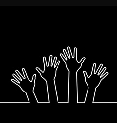 White line of hands vector