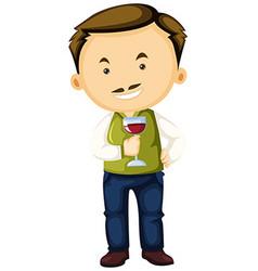 Winemaker holding wine glass in hand vector