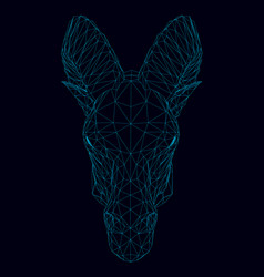 wireframe of the head of a ram of blue lines on a vector image