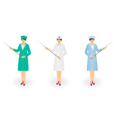 Woman doctor in medical coat holding pointer with vector