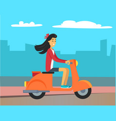 woman driving scooter silhouette buildings vector image