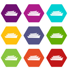 wooden boat icon set color hexahedron vector image