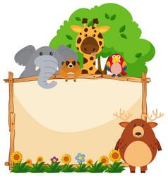 wooden frame with wild animals in garden vector image