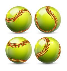 Yellow softball equipment of baseball set vector