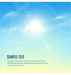 Blue sky with clouds and sun with rays vector image vector image