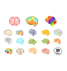 human brains in various styles mind icons set vector image