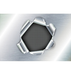 ragged hole in the metal vector image vector image