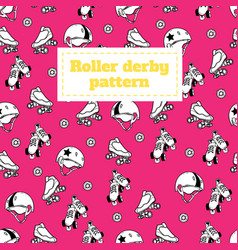 Seamless pattern on the theme of roller derby and vector