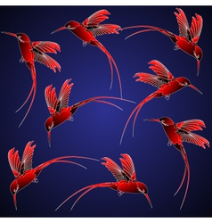 seamless pattern with hummingbird in chinese style vector image