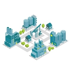 Set of isometric factory oil vector image vector image