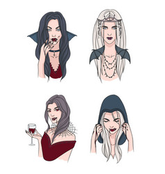 set of various vampire girl woman with fangs and vector image vector image