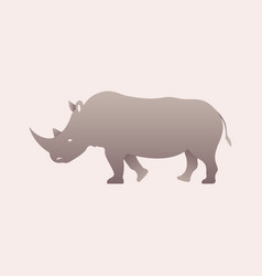 silhouette of a rhino rhinoceros side view vector image