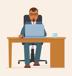 Businessman working with laptop at table vector