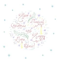 Handdrawn colorful christmas card vector