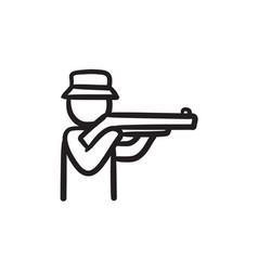 Hunter sketch icon vector