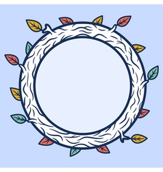 Round wooden frame vector image vector image