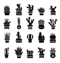 silhouette of desert plants monochrome vector image vector image