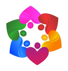 Teamwork hearts logo vector image
