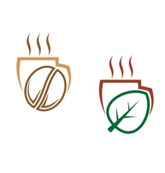 Two cups of steaming beverages vector image