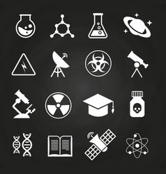 white science icons on chalkboard vector image vector image