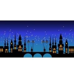 border of Europe night city skyline vector image