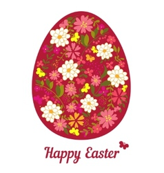 Easter egg from flowers with a text vector image vector image