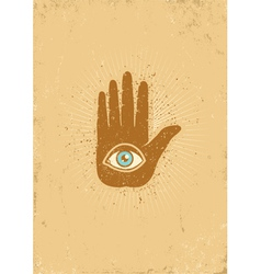 eye hand grunge vector image vector image
