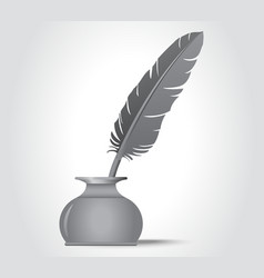 feather quill in the ink well vector image vector image