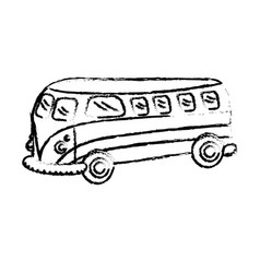 Figure retro hippie bus transportation with vector