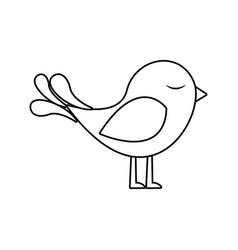 Monochrome silhouette with cute bird vector