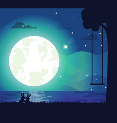 moon and river silhouette vector image