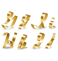 Ribbon alphabet GIHJ vector image
