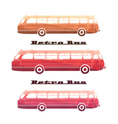 side view of colorful silhouettes of retro bus vector image