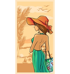 Summer and beautiful lady in green dress and hat vector image vector image