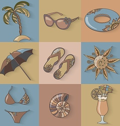 Summer holidays seaside beach icons set vector image