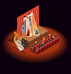 theatre auditorium isometric composition vector image vector image