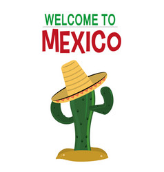 welcome to mexico card invitation culture vector image