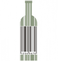 wine bottle and barcode vector image vector image