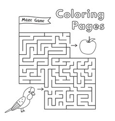 cartoon parrot maze game vector image vector image