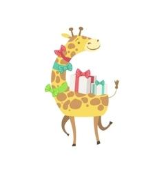 Giraffe Cute Animal Character Attending Birthday vector image