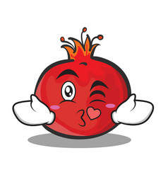 Kissing face pomegranate cartoon character style vector