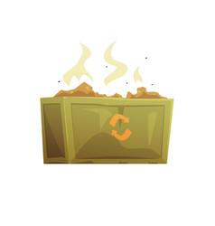 large khaki and orange dumpster full of rubbish vector image