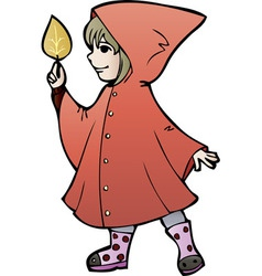 Little girl in rain coat with yellow leaf cartoon vector image