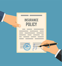 man signs insurance policy vector image vector image
